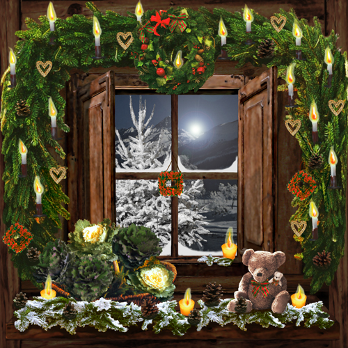 Decor fenetre nuit de noel for Decoration bordure fenetre