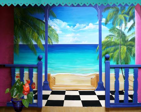 D cors de mer decor mural mer exotique - Peinture effet profondeur ...