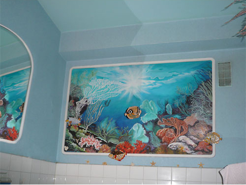 D cors de mer trompe l 39 oeil fond marin - Salle de bain theme mer ...