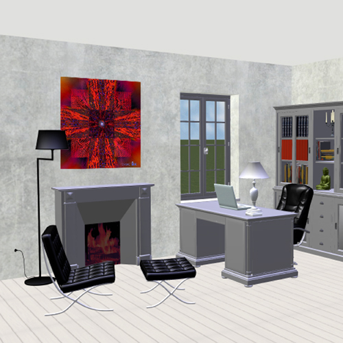 deco bureau mandala rouge 5. Black Bedroom Furniture Sets. Home Design Ideas