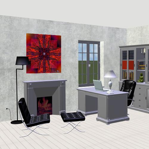 deco bureau mandala rouge 5. Black Bedroom Furniture Sets. Home Design Ideas