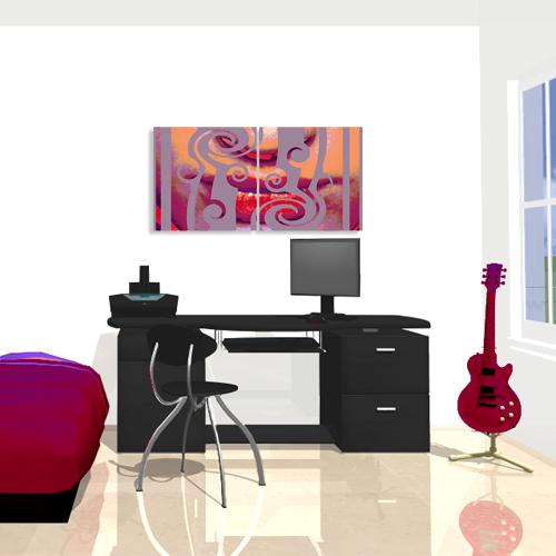 deco chambre tableaux sourire orange. Black Bedroom Furniture Sets. Home Design Ideas