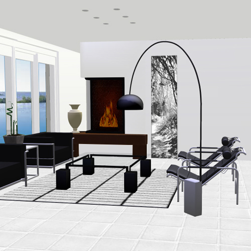 deco salon dans la jungle noir et blanc. Black Bedroom Furniture Sets. Home Design Ideas