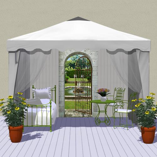 D cor ext rieur une tonnelle romantique - Trompe l oeil exterieur jardin ...
