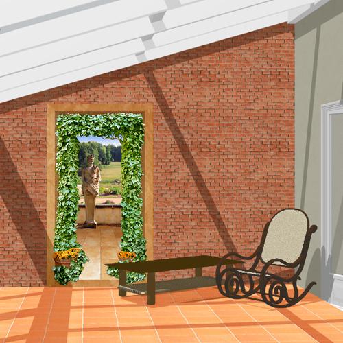 d cor ext rieur trompe l 39 oeil dans la veranda. Black Bedroom Furniture Sets. Home Design Ideas
