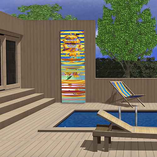 Decor de piscine et spa un tableau vertical for Tableau piscine