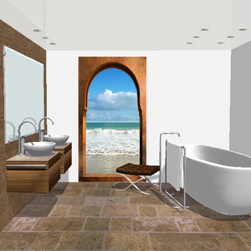 salle de bain: Arcade orientale sur mer