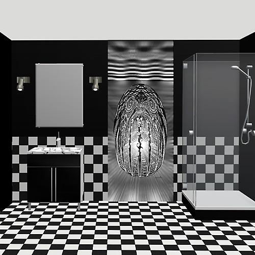 Salle de bain oeuf cosmique noir et blanc for Papiers peints salle de bain